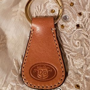 Dooney and Bourke Tan Embossed DB Logo Key Fob